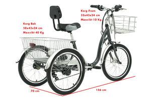 Trehjulig elcykel E132 lithium - Grå, Ny modell 2017!