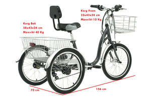 Trehjulig cykel för vuxna 608 Grå i Aluminium.